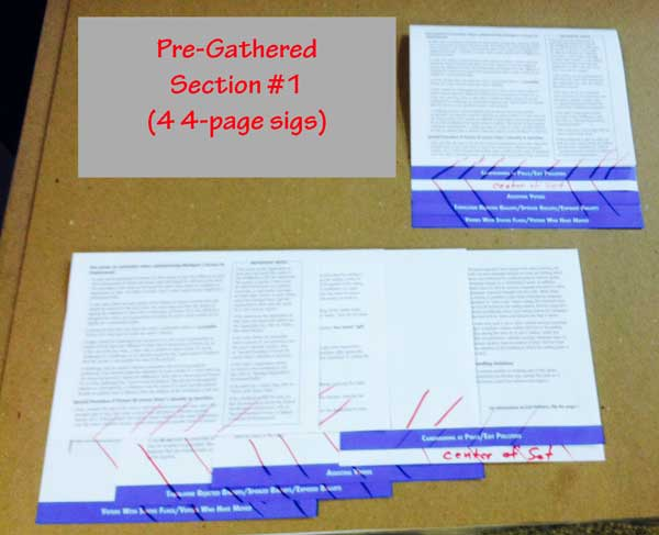 Saddle Stitching Step Books a Pre-Gather 1