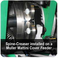 Spine-Creaser installed on a Muller Mattini Cover Feeder